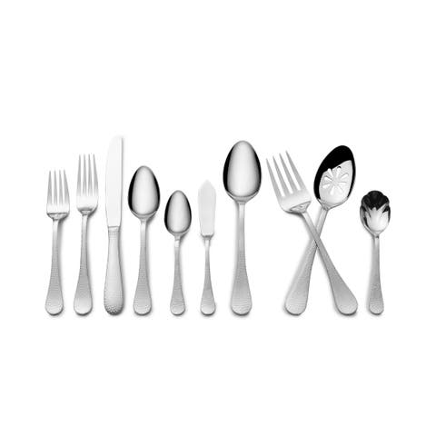 Wallace Hammered 45 Piece Flatware Set