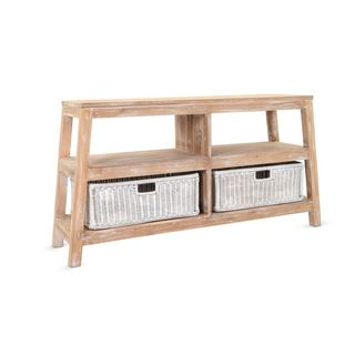 Craig Rustic White Wash Double Wide Low Shelf