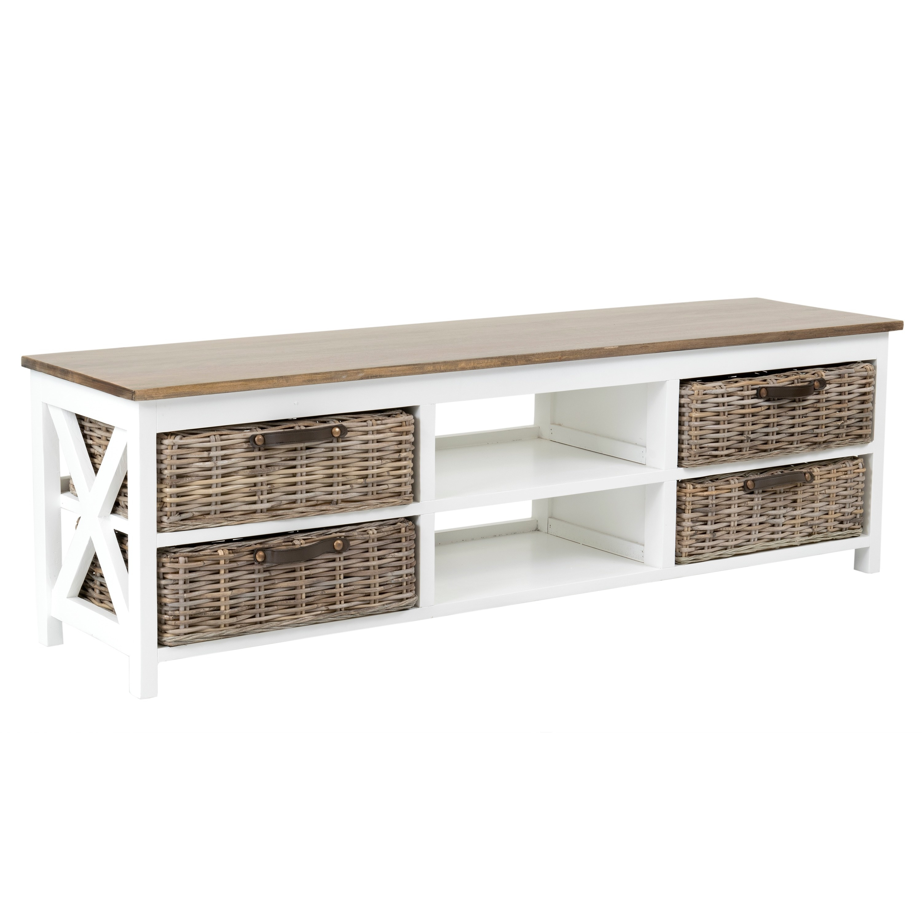Crafted Home Avon Vintage White TV Stand (Avon-SN406-WH),...