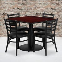 36'' Square Laminate Table Set with 4 Ladder Back Metal Chairs