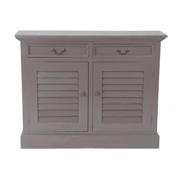 Shop Frisco Vintage Smoke Grey Shutter Door Cabinet Free Shipping