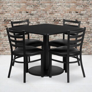36-inch Square Black Laminate Table Set with Four (4) Black Vinyl Seat Ladder Back Metal Chairs