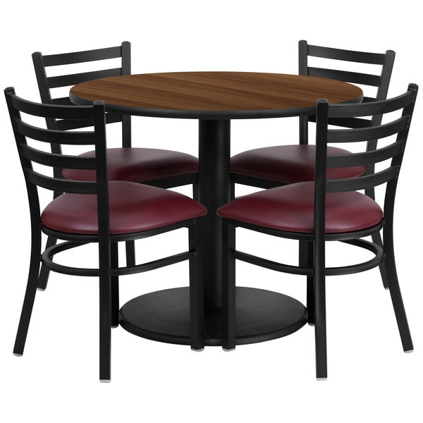 36 inch round walnut laminate table set with four 4 burgundy vinyl seat ladder back metal. Black Bedroom Furniture Sets. Home Design Ideas