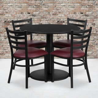 36-inch Round Black Laminate Table Set with Four (4) Burgundy Vinyl Seat Ladder Back Metal Chairs