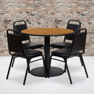 36-inch Round Natural Laminate Table Set with Four (4) Black Trapezoidal Back Banquet Chairs