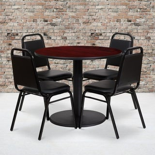 36-inch Round Mahogany Laminate Table Set with Four (4) Black Trapezoidal Back Banquet Chairs