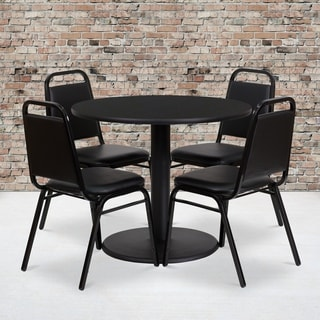 36-inch Round Black Laminate Table Set with Four (4) Black Trapezoidal Back Banquet Chairs