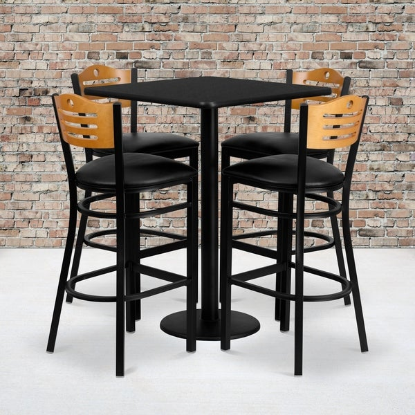 30'' Square Laminate Table Set with 4 Wood Slat Back Metal Barstools