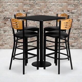30-inch Square Black Laminate Table Set with Four (4) Black Vinyl Seat Wood Slat Back Metal Bar Stools