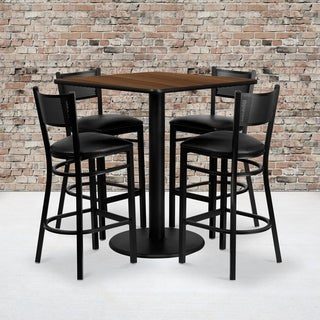 36-inch Square Walnut Laminate Table Set with Four (4) Black Vinyl Seat Grid Back Metal Bar Stools