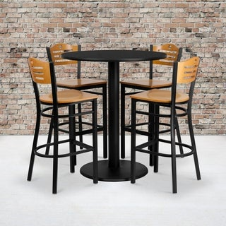 36-inch Round Black Laminate Table Set with Four (4) Natural Wood Seat Wood Slat Back Metal Bar Stools