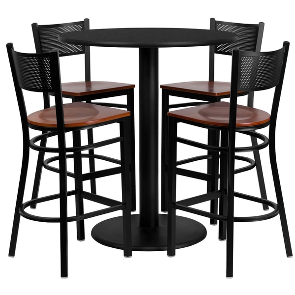 36 Inch Round Black Laminate Table Set With Four 4