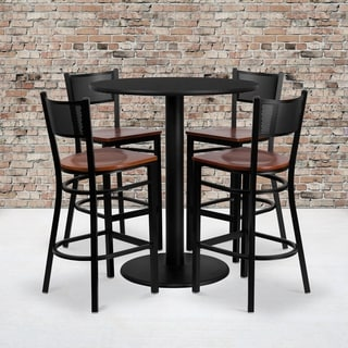 36-inch Round Black Laminate Table Set with Four (4) Cherry Wood Seat Grid Back Metal Bar Stools