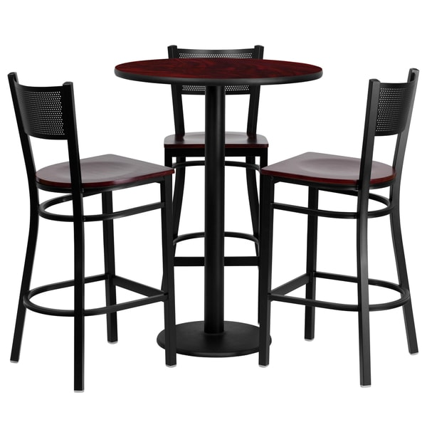 4 Piece Counter Height Dining Set Free Shipping Today  : 30 inch Round Mahogany Laminate Table Set with 3 Grid Back Metal Bar Stools d00fc48a db42 4c85 807f 71ffe6b9ae1a600 from www.overstock.com size 600 x 600 jpeg 32kB