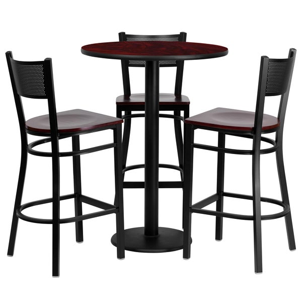 4 Piece Counter Height Dining Set Free Shipping Today  : 30 inch Round Mahogany Laminate Table Set with 3 Grid Back Metal Bar Stools d00fc48a db42 4c85 807f 71ffe6b9ae1a600 from www.overstock.com size 600 x 600 jpeg 29kB