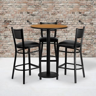 30-inch Round Natural Laminate Table Set with 3 Grid Back Metal Bar Stools