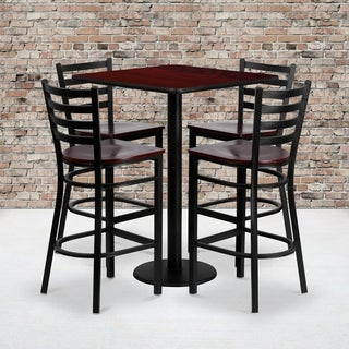 30-inch Square Mahogany Laminate Table Set with Four (4) Mahogany Wood Seat Ladder Back Metal Bar Stools
