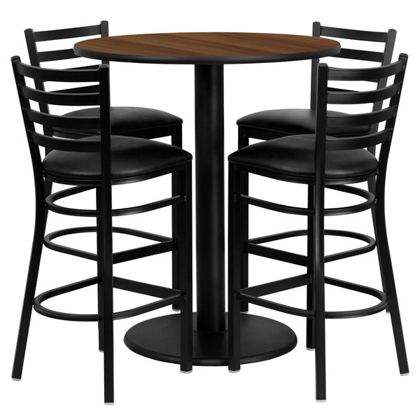 36 inch round walnut laminate table set with four 4 black vinyl seat ladder back metal bar. Black Bedroom Furniture Sets. Home Design Ideas
