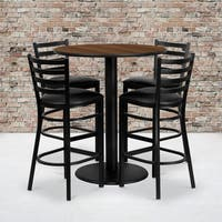 36-inch Round Walnut Laminate Table Set with Four (4) Black Vinyl Seat Ladder Back Metal Bar Stools