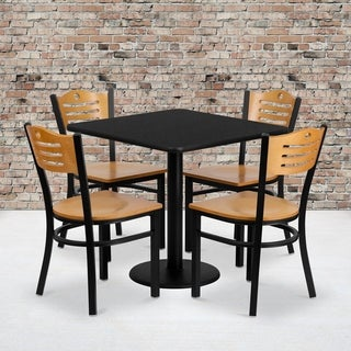 30'' Square Laminate Table Set with 4 Wood Slat Back Metal Chairs