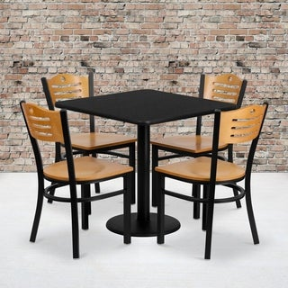 30-inch Square Black Laminate Table Set with Four (4) Natural Wood Seat Wood Slat Back Metal Chairs