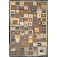 "Couristan Super Indo-natural Abstract Squares/ Brown Rug - 9'6"" x 13'"