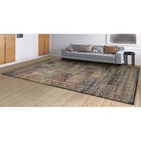 "Couristan Zahara Column Panel/ Blk/ Red/ Oatmeal Rug - 9'2"" x 12'5"""