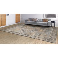 "Couristan Zahara Column Panel/ lt Blue/ Black Rug - 9'2"" x 12'5"""