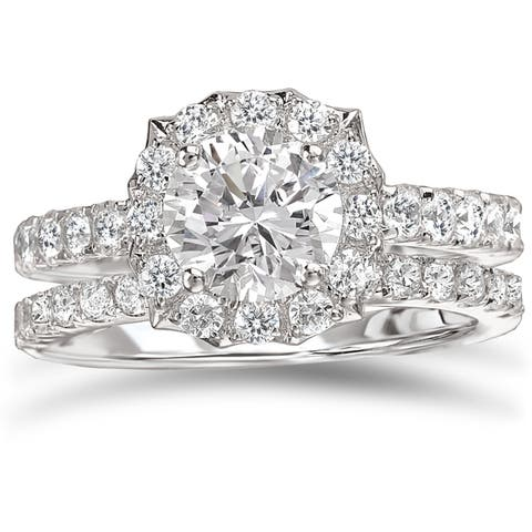 Avanti Rhodium Plated Sterling Silver 3ct TGW CZ Round Scalloped Halo Bridal Ring Set