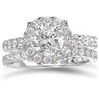 Avanti Rhodium Plated Sterling Silver 3ct TGW CZ Round Scalloped Halo Bridal Ring Set