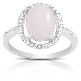 Dolce Giavonna Sterling Silver Gemstone and Cubic Zirconia Oval Ring