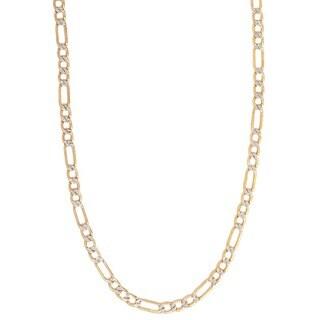 Pori 14k Two-tone Gold Pave Figaro Chain Necklace