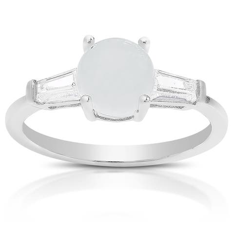 Dolce Giavonna Sterling Silver Gemstone and Cubic Zirconia Solitaire Ring