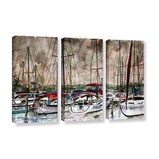 ArtWall Derek Mccrea 'Sailboats' 3 Piece Gallery-wrapped Canvas Set