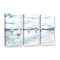 ArtWall Derek Mccrea 'Sailboats 2' 3 Piece Gallery-wrapped Canvas Set - White