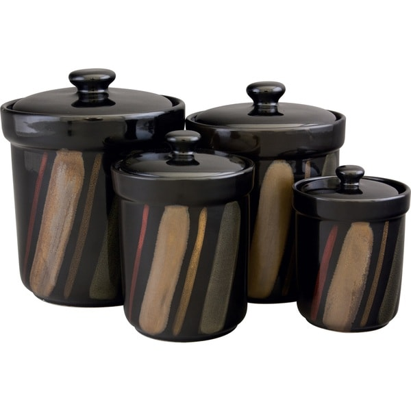 Shop Sango Avanti Black Canister Set Of 4 Free