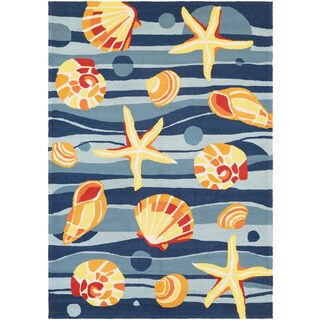 Couristan Beachfront Gold Beach/ Azure-navy-citrus Rug (8' x 11')