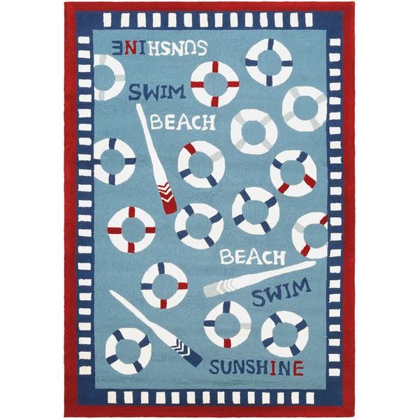 Couristan Beachfront Orford/ Blue-Multi Rug - 8' x 11'