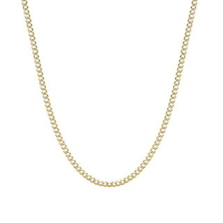 Pori 14k Two-tone Gold Cuban Pave Chain Necklace