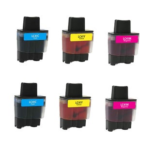 Brother 2 LC41C 2 LC41M 2 LC41Y Compatible Inkjet Cartridge For FAX1840C 1940CN 2440C MFC210C 420CN 620CN 3240C (Pack of 6)