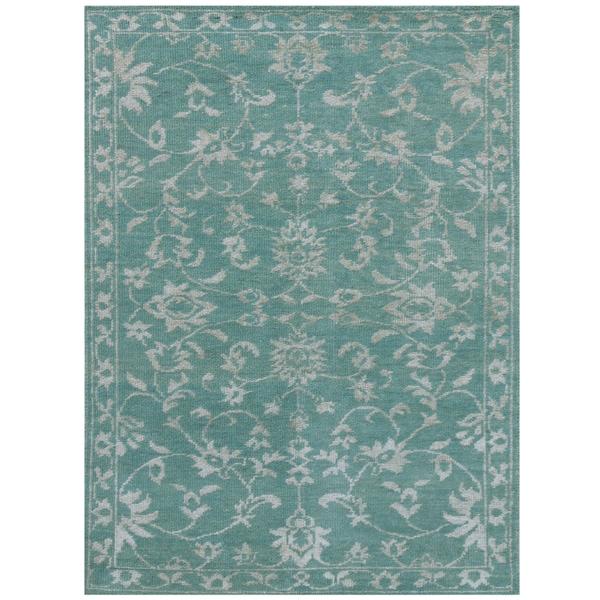 Shop Kimaya KIM 102 Aqua Green Colored Rug
