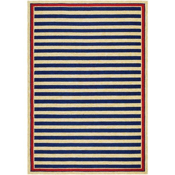 Couristan Covington Nautical Stripes/ Navy-red Indoor/Outdoor Area Rug - 8' x 11'