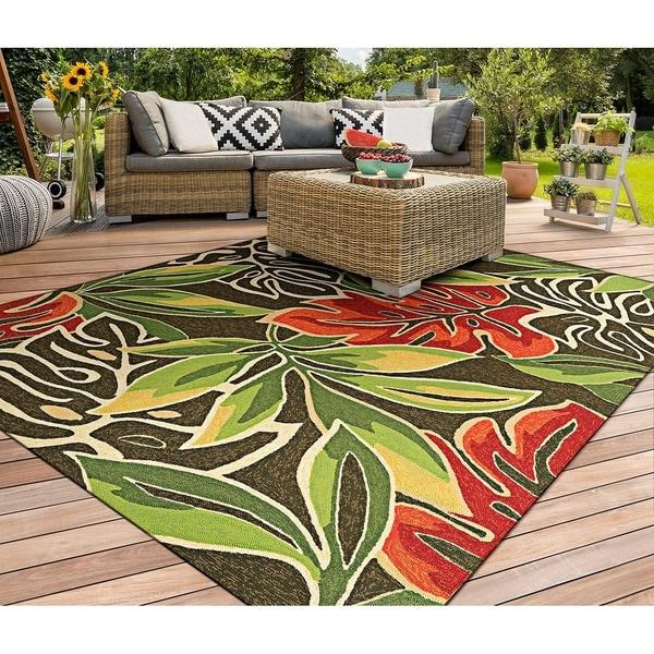 Miami Palms Brown-Deep Green Indoor/Outdoor Area Rug - 8'