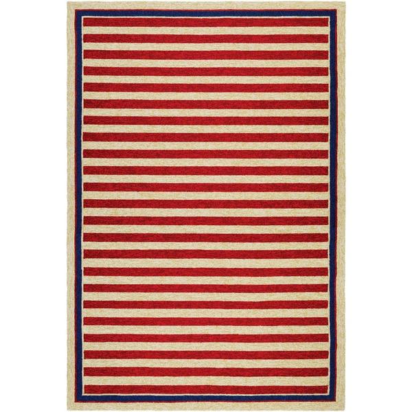 Couristan Covington Nautical Stripes/ Red-navy Indoor/Outdoor Area Rug - 8' x 11'