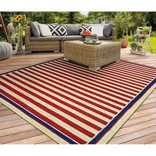 Couristan Covington Nautical Stripes/ Red-navy Rug (8' x 11')