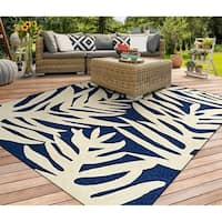 Miami Palm Navy-Ivory Indoor/Outdoor Area Rug - 8' X 11'