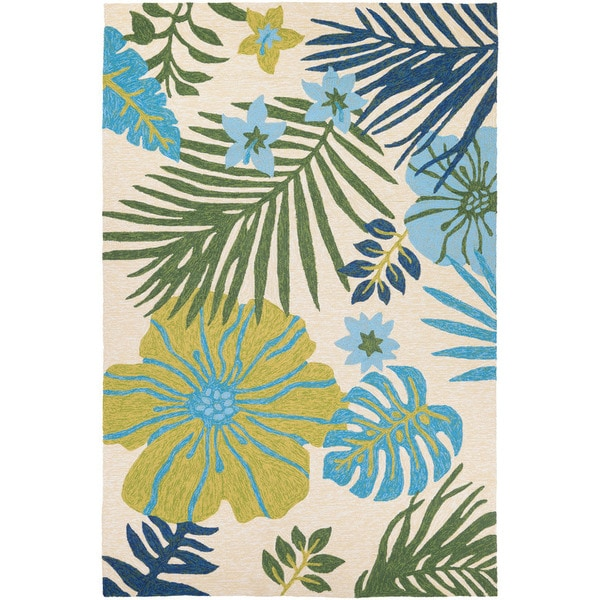 Miami Tropics Ivory-Blue Indoor/Outdoor Area Rug - 8' X 11'