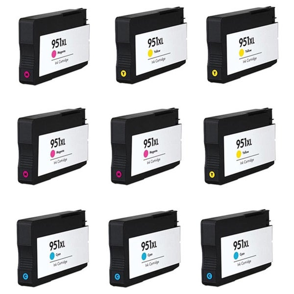 HP 951XL Cyan Yellow Magenta Compatible Inkjet Cartridge For HP OfficeJet Pro 8100 HP OfficeJet Pro 8600 (Pack of 9) - Black