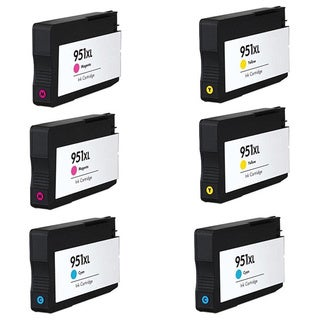 HP 951XL Cyan Yellow Magenta Compatible Inkjet Cartridge For HP OfficeJet Pro 8100 HP OfficeJet Pro 8600 (Pack of 6)