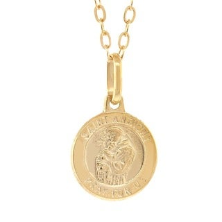 Pori 14k Yellow Gold Saint Anthony Medallion Pendant Neckalce with Gold-filled Cable Chain
